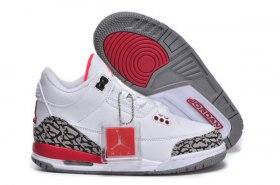 Wholesale Cheap Kids Air Jordan 3 Retro Basketball shoes white/black cement-red