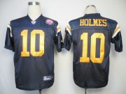 Wholesale Cheap Jets #10 Santonio Holmes Dark Blue With AFL 50TH Patch Stitched NFL Jersey