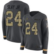 Wholesale Cheap Nike Eagles #24 Darius Slay Jr Anthracite Salute to Service Women's Stitched NFL Limited Therma Long Sleeve Jersey