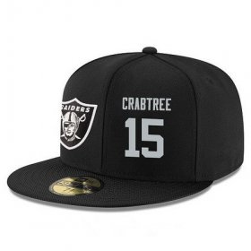 Wholesale Cheap Oakland Raiders #15 Michael Crabtree Snapback Cap NFL Player Black with Silver Number Stitched Hat