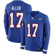 Wholesale Cheap Nike Bills #17 Josh Allen Royal Blue Team Color Men's Stitched NFL Limited Therma Long Sleeve Jersey