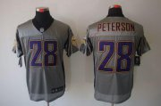 Wholesale Cheap Nike Vikings #28 Adrian Peterson Grey Shadow Men's Stitched NFL Elite Jersey