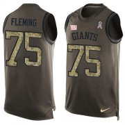 Wholesale Cheap Nike Giants #75 Cameron Fleming Green Men's Stitched NFL Limited Salute To Service Tank Top Jersey