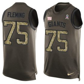 Wholesale Cheap Nike Giants #75 Cameron Fleming Green Men\'s Stitched NFL Limited Salute To Service Tank Top Jersey