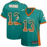 Wholesale Cheap Nike Dolphins #13 Dan Marino Aqua Green Team Color Women's Stitched NFL Elite Drift Fashion Jersey