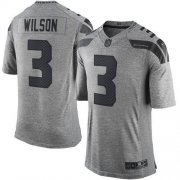 Wholesale Cheap Nike Seahawks #3 Russell Wilson Gray Men's Stitched NFL Limited Gridiron Gray Jersey