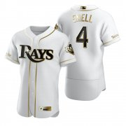 Wholesale Cheap Tampa Bay Rays #4 Blake Snell White Nike Men's Authentic Golden Edition MLB Jersey