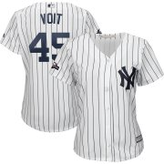 Wholesale Cheap New York Yankees #45 Luke Voit Majestic Women's 2019 Postseason Official Cool Base Player Jersey White Navy