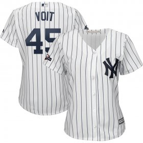 Wholesale Cheap New York Yankees #45 Luke Voit Majestic Women\'s 2019 Postseason Official Cool Base Player Jersey White Navy