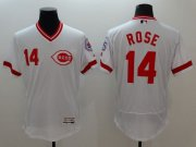 Wholesale Cheap Reds #14 Pete Rose White Flexbase Authentic Collection Cooperstown Stitched MLB Jersey