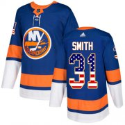 Wholesale Cheap Adidas Islanders #31 Billy Smith Royal Blue Home Authentic USA Flag Stitched NHL Jersey