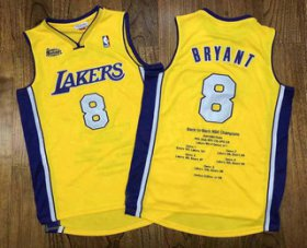 Wholesale Cheap Men\'s Los Angeles Lakers #8 Kobe Bryant Yellow Champion Patch 1999-2000 Hardwood Classics Soul AU Throwback Jersey