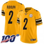 Wholesale Cheap Nike Steelers #2 Mason Rudolph Gold Men's Stitched NFL Limited Inverted Legend 100th Season Jersey