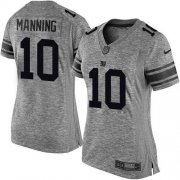Wholesale Cheap Nike Giants #10 Eli Manning Gray Women's Stitched NFL Limited Gridiron Gray Jersey