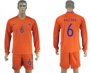 Wholesale Cheap Holland #6 Bazoer Home Long Sleeves Soccer Country Jersey