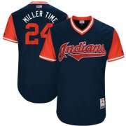 "Wholesale Cheap Indians #24 Andrew Miller Navy ""Miller Time"" Players Weekend Authentic Stitched MLB Jersey"