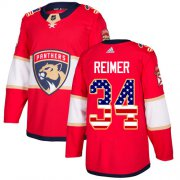 Wholesale Cheap Adidas Panthers #34 James Reimer Red Home Authentic USA Flag Stitched Youth NHL Jersey