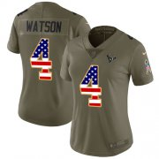 Wholesale Cheap Nike Texans #4 Deshaun Watson Olive/USA Flag Women's Stitched NFL Limited 2017 Salute to Service Jersey