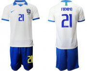 Wholesale Cheap Brazil #21 Firmino White Soccer Country Jersey
