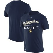 Wholesale Cheap Milwaukee Brewers Nike Practice Performance T-Shirt Navy