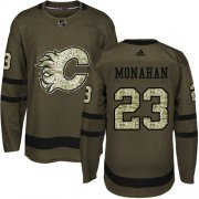 Wholesale Cheap Adidas Flames #23 Sean Monahan Green Salute to Service Stitched Youth NHL Jersey
