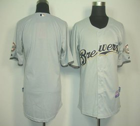 Wholesale Brewers Blank Grey Cool Base Stitched Baseball Jersey