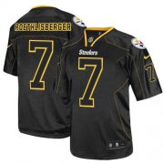 Wholesale Cheap Nike Steelers #7 Ben Roethlisberger Lights Out Black Men's Stitched NFL Elite Jersey