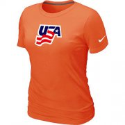 Wholesale Cheap Women's Nike USA Graphic Legend Performance Collection Locker Room T-Shirt Orange