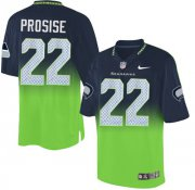 Wholesale Nike Seahawks #22 C. J. Prosise Steel Blue/Green Men's Stitched NFL Elite Fadeaway Fashion Jersey