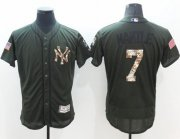 Wholesale Cheap Yankees #7 Mickey Mantle Green Flexbase Authentic Collection Salute to Service Stitched MLB Jersey