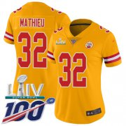 Wholesale Cheap Nike Chiefs #32 Tyrann Mathieu Gold Super Bowl LIV 2020 Women's Stitched NFL Limited Inverted Legend 100th Season Jersey