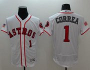 Wholesale Cheap Astros #1 Carlos Correa White Fashion Stars & Stripes Flexbase Authentic Stitched MLB Jersey