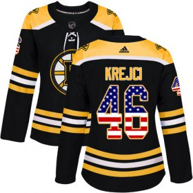 Wholesale Cheap Adidas Bruins #46 David Krejci Black Home Authentic USA Flag Women\'s Stitched NHL Jersey