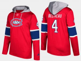 Wholesale Cheap Canadiens #4 Jean Beliveau Red Name And Number Hoodie