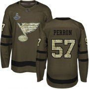 Wholesale Cheap Adidas Blues #57 David Perron Green Salute to Service Stanley Cup Champions Stitched NHL Jersey