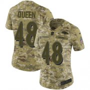 Wholesale Cheap Nike Ravens #48 Patrick Queen Camo Women's Stitched NFL Limited 2018 Salute To Service Jersey