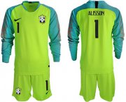 Wholesale Cheap Brazil #1 Alisson Shiny Green Goalkeeper Long Sleeves Soccer Country Jersey