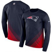 Wholesale Cheap Men's New England Patriots Nike Navy Sideline Legend Prism Performance Long Sleeve T-Shirt