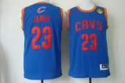 Wholesale Cheap Men's Cleveland Cavaliers #23 LeBron James 2017 The NBA Finals Patch Light Blue Swingman Jersey