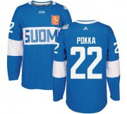 Wholesale Cheap Team Finland #22 Ville Pokka Blue 2016 World Cup Stitched NHL Jersey