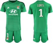 Wholesale Cheap Lyon #1 Lopes Green Goalkeeper Soccer Club Jersey
