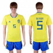 Wholesale Cheap Sweden #5 Olsson Home Soccer Country Jersey