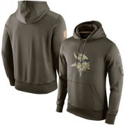 Wholesale Cheap Men's Minnesota Vikings Nike Olive Salute To Service KO Performance Hoodie