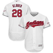 Wholesale Cheap Cleveland Indians #28 Corey Kluber Majestic Home 2019 All-Star Game Patch Flex Base Player Jersey White
