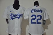 Wholesale Cheap Women's Los Angeles Dodgers #22 Clayton Kershaw White Women 2020 Nike Cool Base Jersey