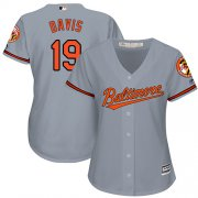 Wholesale Cheap Orioles #19 Chris Davis Grey Road Women's Stitched MLB Jersey