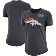 Wholesale Cheap NFL Women's Denver Broncos Nike Anthracite Crucial Catch Tri-Blend Performance T-Shirt