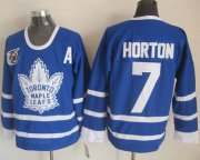 Wholesale Cheap Maple Leafs #7 Tim Horton Blue 75th CCM Throwback Stitched NHL Jersey
