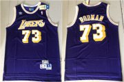 Wholesale Cheap Lakers 73 Dennis Rodman Purple Hardwood Classics Jersey