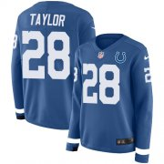 Wholesale Cheap Nike Colts #28 Jonathan Taylor Royal Blue Team Color Women's Stitched NFL Limited Therma Long Sleeve Jersey